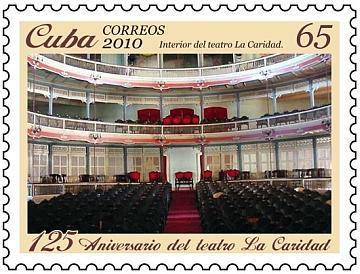 La cancelación también incluyó este sello con una imagen del interior del teatro donado por Marta Abreu de Estévez al pueblo de Santa Clara.