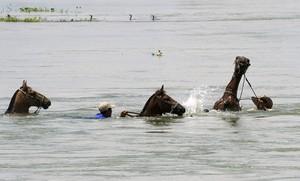 hombres cruzando río a caballo