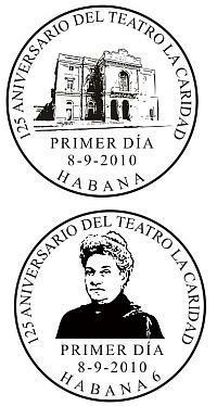 Cuños canceladores de la nueva emisión postal dedicada al teatro La Caridad y a Marta Abreu de Estévez.