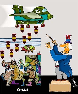 Obra del caricaturista cubano Tomy sobre la masacre israelí en Gaza