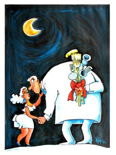 Machismo. Caricatura de Pedro Méndez, director del humorístico Melaíto