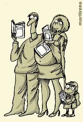 El hábito de lectura. Caricatura de Martirena con motivo de la XVIII Feria del Libro