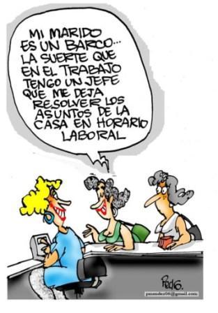 Aprovechamiento de la jornada laboral. Caricatura: Pedro Méndez