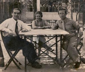 María Teresa León junto a Rafael Alberti y García Lorca