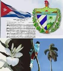 Símbolos patrios: la bandera, el himno y el escudo. Debajo: la mariposa, flor nacional; el tocororo, ave nacional, y la palma real, árbol nacional.